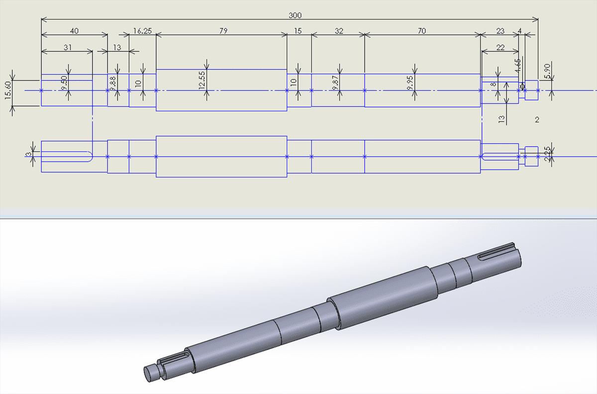 (画像7-2)シャフトの寸法図と3Dデータ化したシャフト